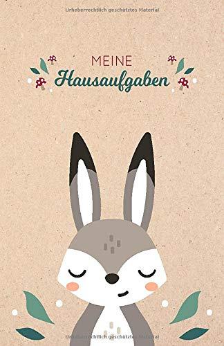 Meine Hausaufgaben: Hausaufgabenheft mit kleinem Hase / Kaninchen auf Kraftpapier, ca. A5, für 1 komplettes Schuljahr