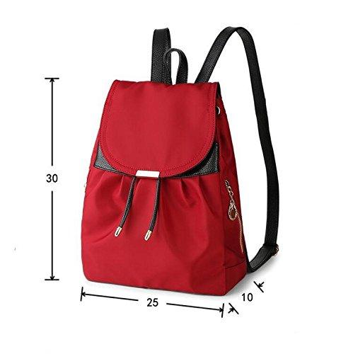 HQYSS Damen-handtaschen Frauen-Nylon-leichte Hochschule Wind-beiläufige Rucksack-Handtaschen-feste Farben-justierbare wasserdichte große Kapazität Bookbags-Einkaufstasche red