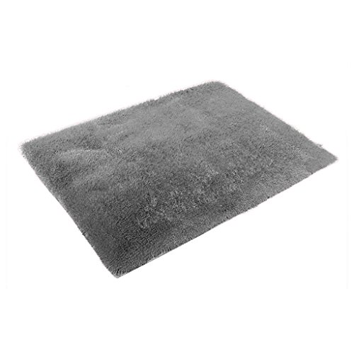Generic Fluffy Rug Anti-Skid Shaggy Area Rug Home Bedroom Carpet Floor Mat 16 Colors - gray