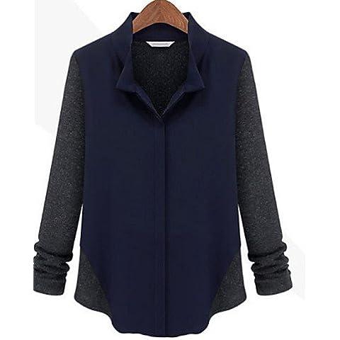 Signore Camicetta 2016 Estate Camicia Da Donna Increspato Colletto Manica Lunga Poliestere , Dark Gray-2Xl , Dark Gray-2Xl
