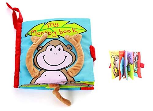 FLM - Bebés Juguete Peluche Libro Blando de Paño 3D de Animal Mono Desarrollo Libros Aprendizaje y Educación