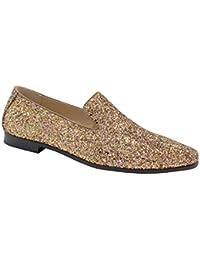 eb3f9087d1d1 Mario Lopez Men Smoking Slipper Metallic Sparkling Glitter Tuxedo Slip on  Dress Shoes Loafers