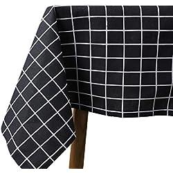 Seepong Mantel Negro Mantelería de algodón y Lino Manteles de Tela Escocesa Resistente a la Humedad Rectángulo Cena Lavable Mesa de Picnic Cubiertas 140x180cm