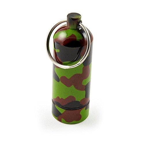 Ganzoo Pillen-Dose, Pillen-Box, Aluminium-Kapsel, Schlüssel-Anhänger Mini, wasserdicht, Farbe: Camouflage, Höhe: 55 mm