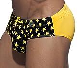 Manview - Costume da bagno da uomo, motivo con stelle giallo/nero XXL
