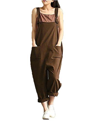 StyleDome Donna Salopette Lunga Elegante Cotone Moda Tasche Ufficio Senape IT 54