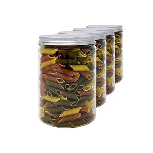 D' Luxy Pack 4 Botes de Polietileno Alimentario, 1,1 L (15x10cm), Tarros con Tapa de Aluminio Enroscable. Reciclable. 100% Libre de BPA.