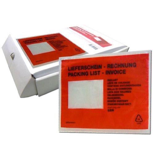 Colompac 522183-250 Dokumententaschen C5 Lieferschein-Rechnung rot/schwarz Inh.250