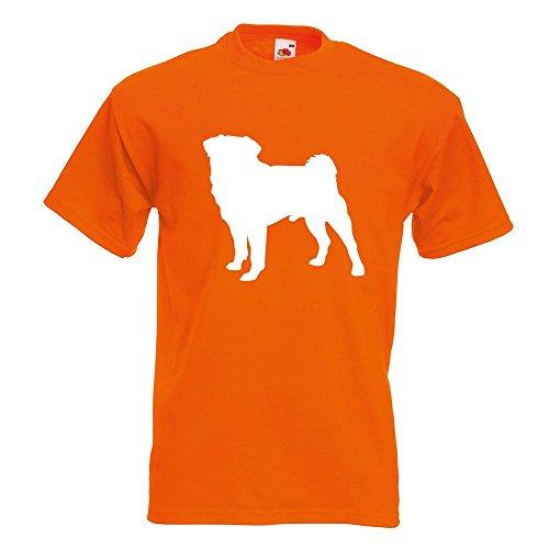KIWISTAR - Mops Hundrasse Pug Carlin T-Shirt in 15 verschiedenen Farben - Herren Funshirt bedruckt Design Sprüche Spruch Motive Oberteil Baumwolle Print Größe S M L XL XXL Orange