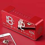 Affichage LED HD Miroir horloge radio numérique réveil, voiture extérieure intelligente radio-réveil sans fil Haut-parleur...