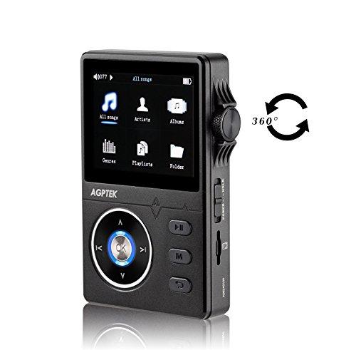 AGPTek H1- metal Hi-Fi Reproductor de MP3 8 GB, 2.3 pulgadas de pantalla TFT, Negro