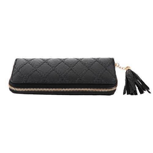 IPOTCH Damen PU Leder Lange Geldbörse Geldbeutel Clutches Mädchen Portemonnaie Damenhandtasche mit Reißverschluss - Schwarz -