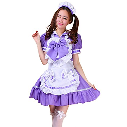 tzm2016 halloween costume Women's Bowknot Maid Apron Costume Lolita sailor maid Costume dress ( purple , Size M ()