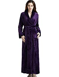 c1b136db3a Luxurious Women Men Fleece Flannel Sleepwear Warm Shawl Collared Thicker  Long Unisex Bath Robe Couple Pajamas