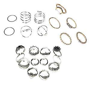 21 Stück Midi Ringe Set Silber Für Damen Retro Fingerring Nagel Finger Silber Gold Vintage Fingerring-Set mit Schöner Box