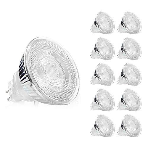 Creyer 10er Pack MR16 GU5.3 LED Lampen, 420LM, 5W Ersatz für 50W Halogenlampen, Warmweiß(2900K), Nicht Dimmbar, 12V AC/DC, LED-Reflektorlampe mit GU5.3-Sockel -