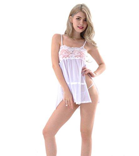 FENGHAO Damen Sexy Unterwäsche Strap Nachtwäsche Chemise Minikleid, White -