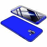 Samsung Glaxy J8 Hülle + Panzerglas, JINICHANGWU 360° Rundumschutz-Schale PC Full-Cover Anti-Kratzer Handyhülle Schutzhülle Case für Samsung Glaxy J8 (2018) (Blau)