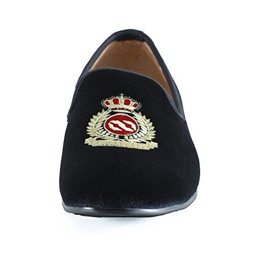 2c7ef7975c713 Homme Chaussure Noir Couronne West Impériale Vintage Chausson Fantaisie  Mocassins Chaussures Velours Journey Broderie Noble Loafers ...
