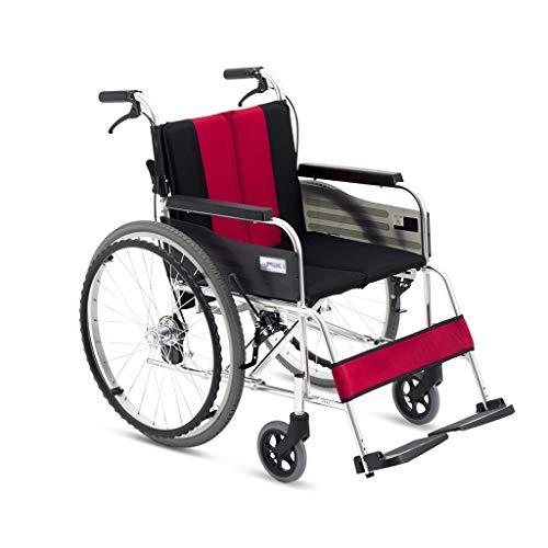 HEUFHU888 Sedia a rotelle - Evitare l'inflazione Anteriore e Posteriore Design del Freno in Lega Leggera Sedia a rotelle Pieghevole Pieghevole per Anziani (Colore : Red)