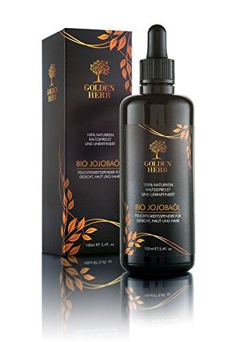 Premium Bio Jojobaöl - Kaltgepresst, organisch und nativ. In einer vor Licht schützenden Flasche - 100ml. Frei von Hexan und ohne Silikone - Gold. Für eine reine und wohlfühlende Haut.