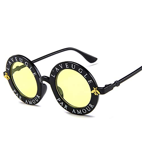 DZSF Koreanische Unisex-Version der Small Bee Round Frame-Trend-Sonnenbrille, UV-beständig mit Brillenetui,5