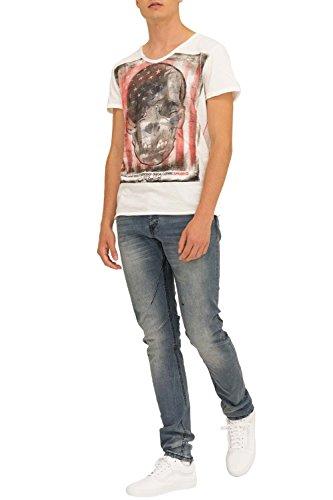 trueprodigy Casual Herren Marken T-Shirt mit Aufdruck, Oberteil cool und stylisch mit V-Ausschnitt (kurzarm & Slim Fit), Shirt für Männer bedruckt Farbe: Off White 1053105-8005 Offwhite