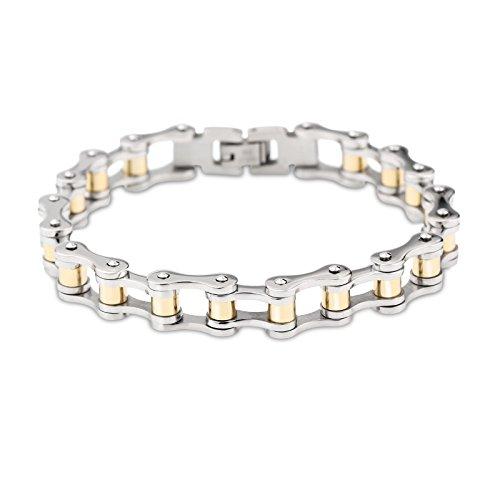 YSM-Fahrrad-Ketten-Armband-220mm-Edelstahl-Verbindungs-Armband-10mm-Breite-Elegante-Herren-Armband-Silber-Gold