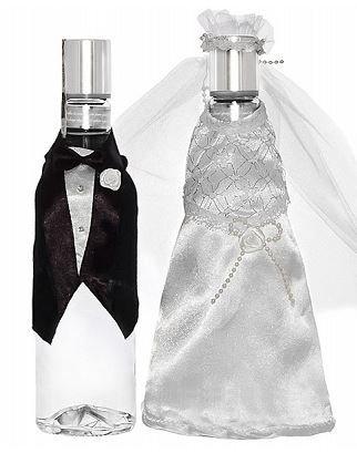 PartyDeco Uw3-008-karton-Set 2Stück Flaschenhülle Kleidung Brautpaar