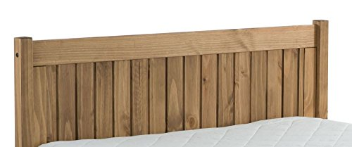 Happy Beds Rio Wooden Bed Waxed Pine Finish Traditional with Luxury Spring Mattress 4' Small Double 120 x 190 cm
