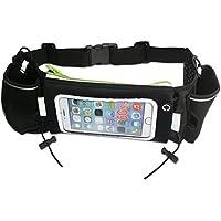 HZY Hüfttasche mit 2 Flaschenhalter Eine Reißverschlusstasche mit Innenfächer geeignet für Reisen Wandern Fit iPhone 6 plus Galaxy S5 S6 Note 4/5(Schwarz + Fluoreszierende grün)