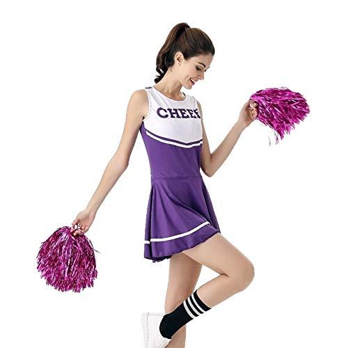 MCO%SISTSR Cheerleader-Kostüm,Mädchen Cheerleading Uniform Jumpsuit Dance Performance Gymnasium Musik Sportwettbewerb,Lila,Einheitsgröße