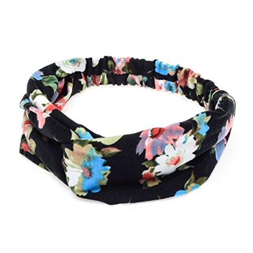 Boolavard Femmes Bandeau Boho Floral Style Criss Croix Tête Wrap Bande de Cheveux (Noir avec Bleu)