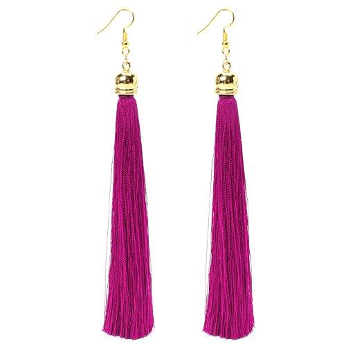 LLLucky Lange Quaste Baumeln Ohrringe Thread Fransen Tropfen Ohrring Anhänger Ohrring Baumeln Eardrop Hot Pink (Hot Glamour Mädchen)