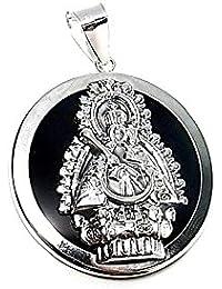 Colgante plata ley 925m 35mm. acetato negro Virgen Cabeza [AA8482]
