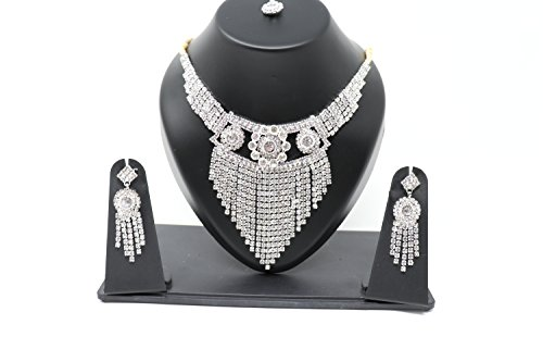 Inglis Lady Clashing Quality Traditional Immitation jewellery Gold American Diamond Plated Golden Brass Earrings Drop Earring Imitation Stone Mangalsutra Necklace Set Black Bead Chain For Women