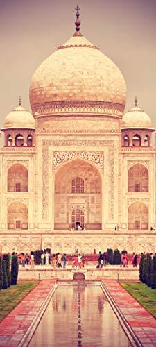 Bilderdepot24 Türtapete selbstklebend Taj Mahal - Indien Vintage 90 x 200 cm - einteilig Türaufkleber Türfolie Türposter - Mausoleum Grabstätte Moschee Denkmal ewiger Liebe Asien Kultur