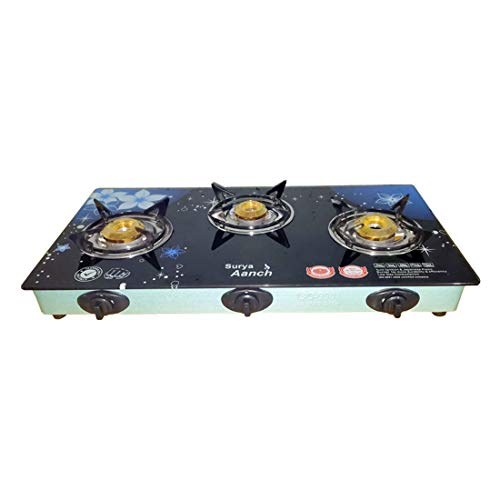 Surya Crystasl 3 Burner Gas Stove Design -Blue