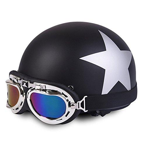 Casco da motocicletta, Furiauto Casco con gli occhiali di protezione con doppia visiera in nero, casco protettivo anti-UV