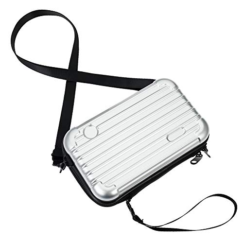dgaf&bae Umhängetasche Handy Handschlaufe Klein Tasche Mode Hardcase Kosmetiktaschen Harte Schale Kosmetiktasche ReißVerschluss Fall Kunststoff Hartschale(Sliber)