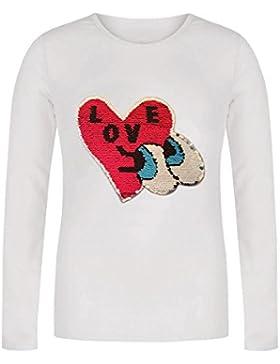 Lentejuela, Corazón, Amor, Top de Chicas, Manga Larga Camiseta