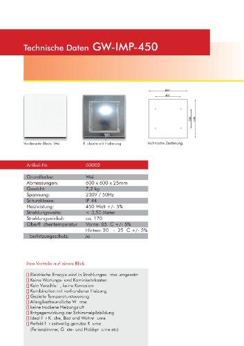 Infrarotheizung Infrarot 450 Watt Metall-Premium Weiss Glaswärmt Heizung Bild 3*