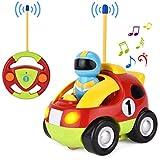 GotechoD Ferngesteuertes Auto, Cartoon RC Rennauto Auto Spielzeug mit Licht Sound, Spielzeugauto mit Fernbedienung für Baby Kleinkind Kinder