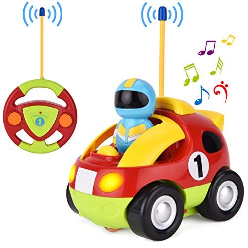 GotechoD Remote Control Car for Baby RC Cartoon Racing Car with Lights & Sound Radio Control RC Car Toys for Toddler RC Cartoon Car for Kids, Present for Birthday New Year
