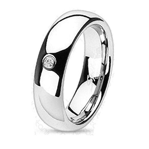 Bungsa 67 (21.3) Ring mit Zirkonia Kristall Stein Titan hochglanzpoliert Silber Schmuckring für Damen und Herren (Ring Damen Fingerring Partnerringe Verlobungsringe Trauringe Damenring Titanring)