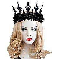 BESTOYARD Damen Maskerade Krone Halloween Dekoration Haarschmuck Gothic Garland Krone Stirnband Tanzparty Kopfschmuck (Schwarz)