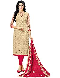 Santhi Fashions -PURE COTTON BEIGE AABLA WORK TOP WITH SLEEVES WORK AND HEAVY WORK NAZNEEN PINK CHIFFON DUPATTA...