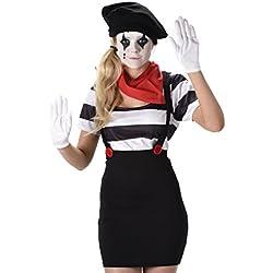 Mime Artist costume da donna francese circo Carnevale donna adulto costume nuovo