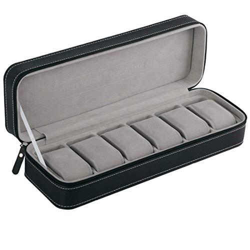 DYHM Uhr Aufbewahrungsbo 6 Slot Watch Box Tragbare Reise Reißverschluss Fall Collector Storage Schmuck Aufbewahrungsbox (Color : Black) - Black Watch Flanell