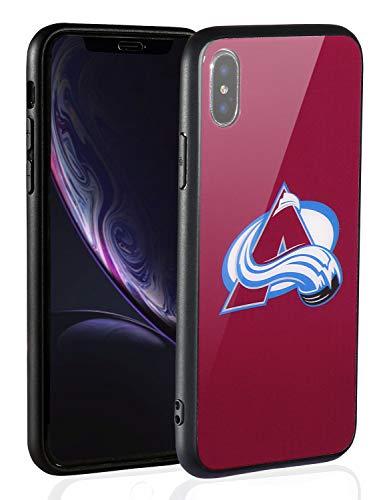 Sportula NHL Schutzhülle für iPhone X/iPhone XS, dünne Hartglas-Rückabdeckung und dünne Silikon Gummi Bumper Rahmen kompatibel Apple iPhone XS/iPhone X, 5.8inch, Colorado Avalanche Colorado Avalanche Iphone